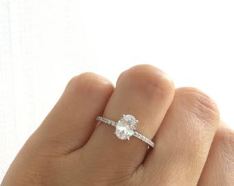 oval engagement ring oval accented solitaire ring high quality sterling silver engagement ring - Oval Wedding Rings