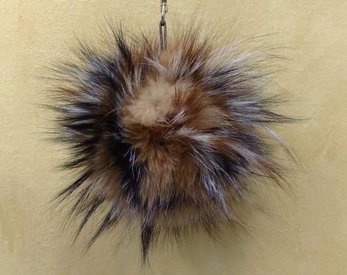 Fox Fur Pom Pom, Bag Pom Pom,Fur keychain F615