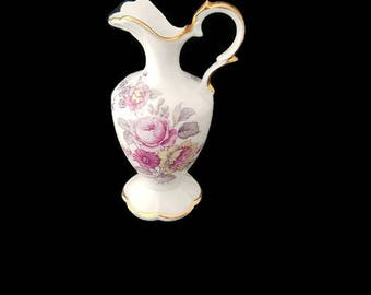Vintage small french Limoges porcelain vase, 1960's porcelain vase, flower vase