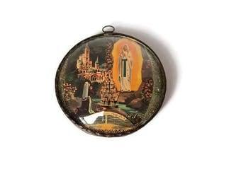 Vintage Lourdes frame, french bubble glass frame souvenir of Lourdes, Christian wall decor