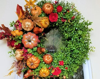 "23"" Fall Boxwood Wreath with Glittery Pumpkins, Squash, Flowers & Fall Leaves Display Front Door Wreath"