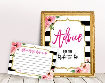 Printable Advice for Bride To Be, Kate Bridal Shower Games, Bridal Shower Advice Cards, Advice for the Bride Sign, Wedding Advice Cards