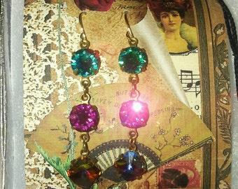 3-rhinestones earrings