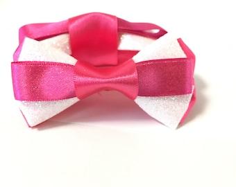 Pink glitter hair bows, Valentine's Day bows, white glitter bows, satin ribbon, gift, birthday, clip, women, baby, girls, accessories