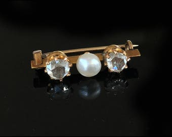 Antique, Victorian 14ct Gold Rose-cut Diamond & Natural Pearl Brooch Pin C1880