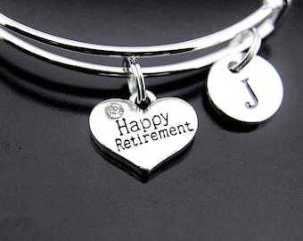 Happy Retirement Bangle, Silver Happy Retirement Charm Bangle, Happy Retirement Bracelet Bangle, Expandable Bangle, Personalized Bangle