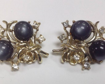 Vintage Coro signed Moonstone and Rhinestone Clip on Earrings
