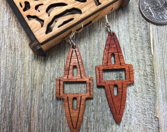 Laser cut wood earrings #13