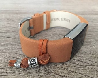 Handmade Bracelet For Fitbit Charge 2 Activity Tracker Brown Leather Band Silver Ornament Fitbit Charge 2 Band Fitness Tracker Bracelet
