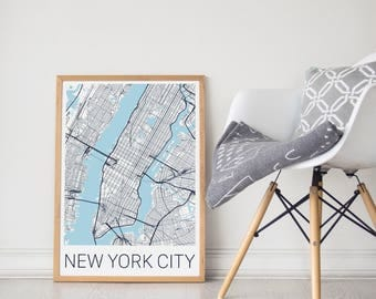 NYC Poster / NYC Map Poster / New York City Map / New York City / New York City Print / NY Map/ Manhattan / Manhattan Print