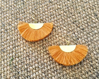 Fan earrings - mustard & brass