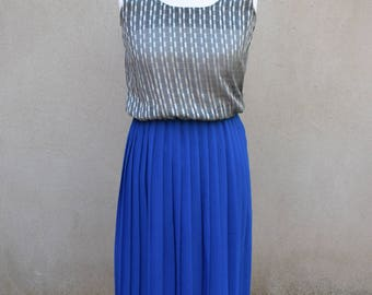 Vintage blue and silver pleated day dress, 1980s