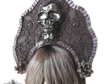 Santa Sangre gothic kokoshnik-black skull headpiece-wgt-gothic headpiece-headpiece