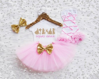 Squad Goals Baby Girl Outfit With Optional Headband, Leg Warmers and Bloomer. Disney Princess Outfit. Newborn Outfit. Coming Home Outfit