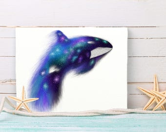 Whale Nursery Art, Whale Kids Room Art, Whale Canvas, Orca Wall Art, Whale Art Gift, Star Whale, Galaxy Whale, Space Whale, Tabletop Canvas