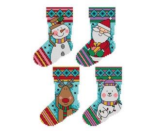 Small Christmas Stockings - Set of 4 - Durene J Cross Stitch Pattern - DJXS2232