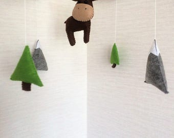 Baby Crib Mobile - Baby Mobile - Moose Mobile - Woodland Forest - Nursery Forest Crib Mobile