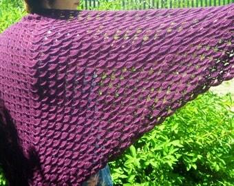 Crochet wrap Shawl, Handmade Shawl, Lace shawl, Purple Shawl, Wool Shawl, Knit Shawl, Cozy shawl, gift for her