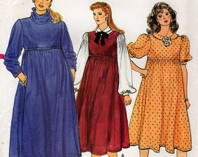 FREE US SHIP Vogue 8784 Vintage Retro 1980s 80s Babydoll Maternity Dress Size 6 8 10 Uncut Sewing Pattern Pullover Bust 30 31 32