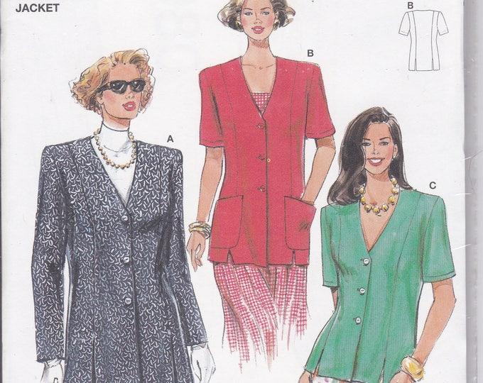 FREE US SHIP Burda 3980 Retro 1990s 90's Sewing Pattern Top Jacket Size 8 10 12 14 16 18  Bust 31.5 32 34 36 38 40 Plus Uncut