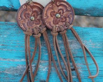 Leather Fringe Earrings, Western, Southwestern, Boho Handmade Leather Jewelry