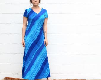 90s vintage bright hues of blue ocean watercolor striped short sleeve rayon maxi dress
