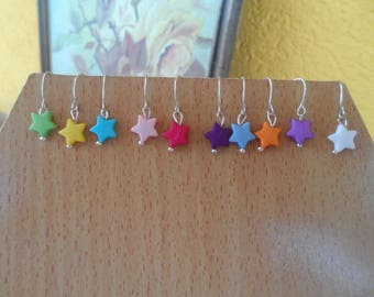 Set of 10 pairs of stars earrings
