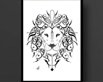 Arabic Calligraphy Lion Print - Al Mutanabbi Poetry - Arabic Poetry - White and Black Calligraphy Art Print