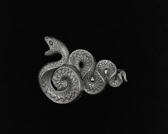 Snake hair clip-snake barrette-2.5 inches-silver plated brass