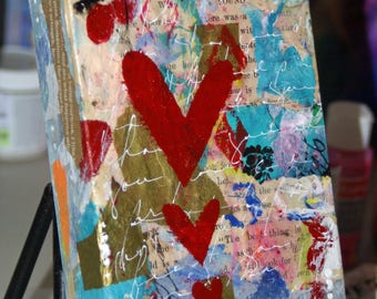 Mixed Media Hearts Collage Painting, Original Acrylic Art on Wood Canvas, Wall Art, Abstract Art Three Little Hearts