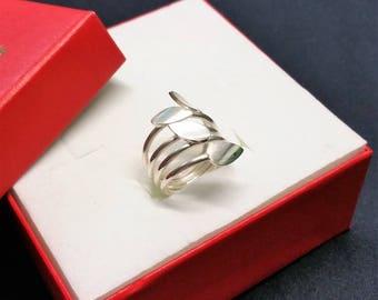 17.7 mm ring 925 Silver Emerald leaves design SR887