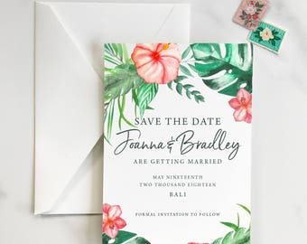 Tropical Save the Date, Destination Wedding Save the Date, Hawaii Save the Date, Tropical, Hawaii, Hibiscus Save the Date - DEPOSIT