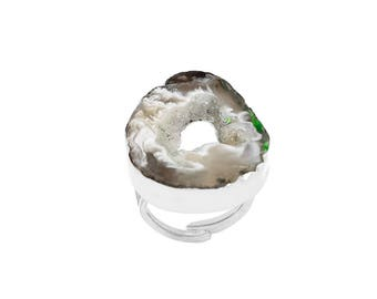 Geode ring, green Druzy Ring, natural stone ring, gemstone ring, sterling silver, adjustable ring, geode agate, statement ring, agate slice