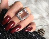 Chloe Ring. Gorgeous Statement Ring with Large Cubic Zirconia Stone and White Gold Plating. Bold Ring. Sexy Ring.