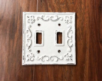 Metal light switch etsy double light switch covers farmhouse bathroom metal light switch plate farmhouse wall sciox Image collections