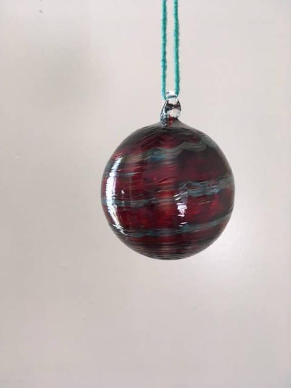 Copper Ruby and Aquamarine twist ornament