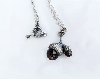 Acorn Necklaces, Sterling Silver Acorn Necklace, Strength Symbol, Smokey Quartz Necklaces, Nature Jewelry, Good Luck Charm, Peter Pan Kiss