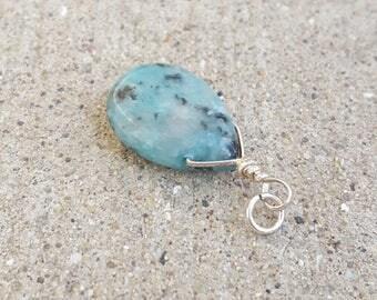 Sterling Silver Blue Kiwi Jasper, Jasper Pendant, Jasper Charm, Jasper Gemstone, Blue Kiwi, Smooth Teardrop, Sterling Wrapped Pendant, KW1