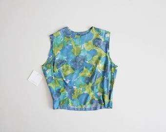 50s silk blouse | silk crop top | 50s shell top