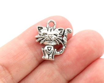 8 Pcs Kitten Charms Cat Charms Pendants Antique Silver Tone 17x18mm - YD0627