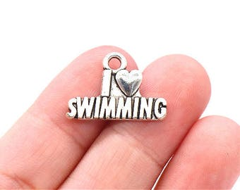 8 Pcs I Love Swimming Charms Swimming Pendants Antique Silver Tone 15x22mm - YD0396
