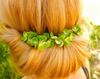 Bridal hair flower 1 pcs Bridal hair piece Boho Bridesmaid hair pins Green wedding Flower accessories Green hydrangea Bridal headpiece gift