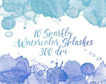 Sparkly Watercolor Splashes Clipart, Sparkly Watercolor Clipart, Glitter Watercolor Clipart, Watercolor Splash Clipart, Glitter Watercolor
