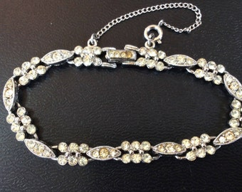 Eisenberg Dainty Silver Tone Rhinestone Bracelet