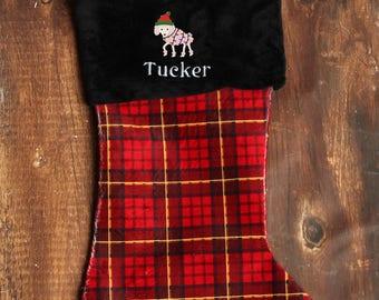 Poodle Dog Christmas Stocking -  Poodle Dog Gift - Custom Stocking - Personalized Velvet Dog Stocking - Dog Stocking name