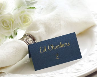 Shimmer Navy and Gold Foil Wedding Place / Name Cards