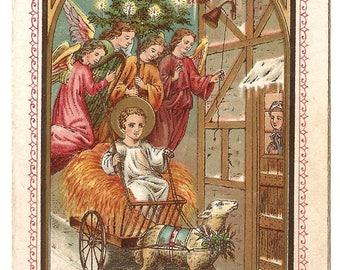 Baby Jesus in Creche Manger with Christmas Tree & Angel Choir Antique Dutch Catholic Holy Prayer Card, Catholic Gift, Chromolithograph