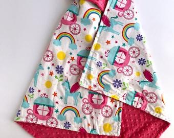 Personalized baby blanket for girls - Unicorn minky baby blanket - Monogrammed baby blanket -  - unicorn blanket - unicorn nursery decor