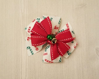 Candy Cane Xmas Bow, Christmas Bells Hair Bow, Xmas Hair Clip, Red White and Green Bow, Girls Hair Barrette, Holiday Hair Bow, Chistmas Bow