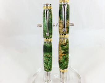 Handcrafted His and Her Cigar Pen Set, Ball Point Pen, Couple Gift, Large Pen, Maple Burl Pen, Gift for Husband, Gift for Wife, Anniversary